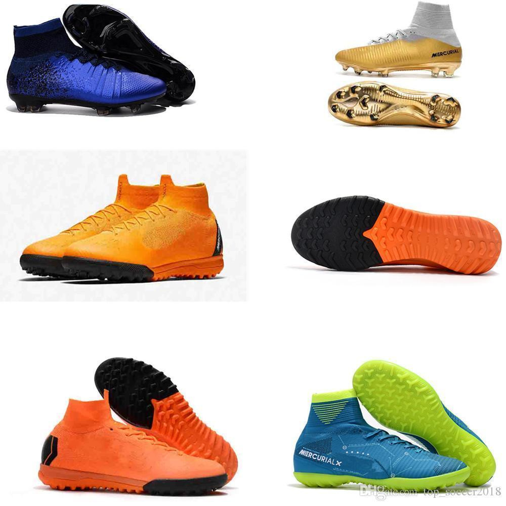 best Kids Men Women Mercurial Superfly VI Elite TF Football Boots High Top SuperflyX 6 Indoor ACC Soccer Shoes Boys Turf Soccer Cleats 35-45