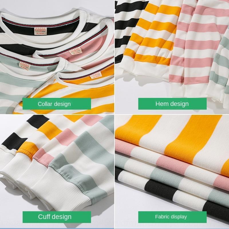 Осень и зима нового мужские длинный рукав свитер для подростков Корейского круглой шеи свободного пуловер футболка пуловер в полоске Футболка свитер Pdyb
