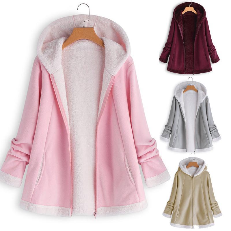 Женская мода зима карман на молнии с длинным рукавом плюшевые пальто Hoodie