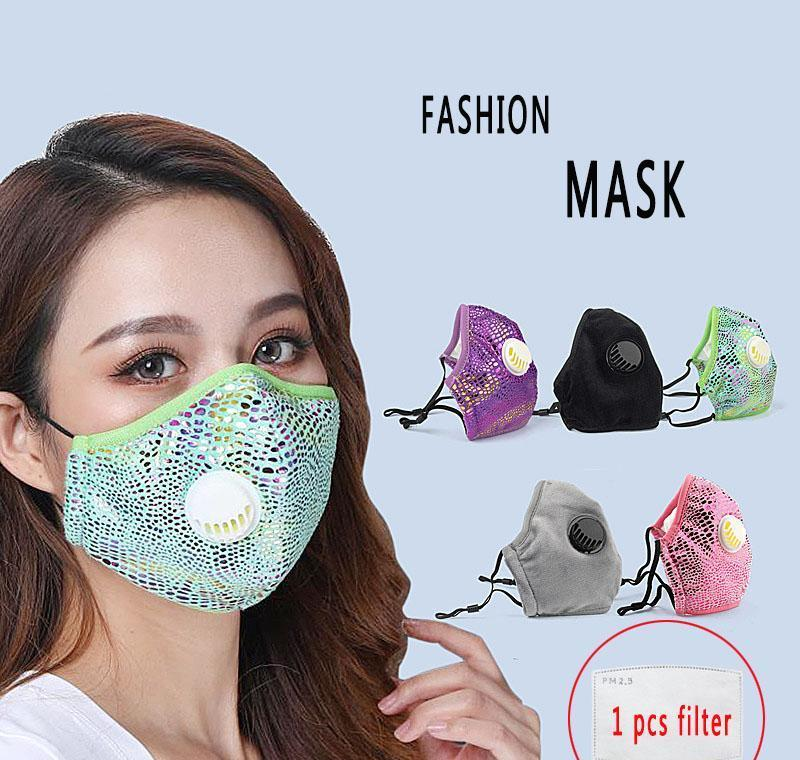 Para filtros lavables de Bling de tela transpirable Cara máscara 2 Las nuevas máscaras con la moda de las mujeres a prueba de polvo 2020 mylovethome reutilizable wGQLo