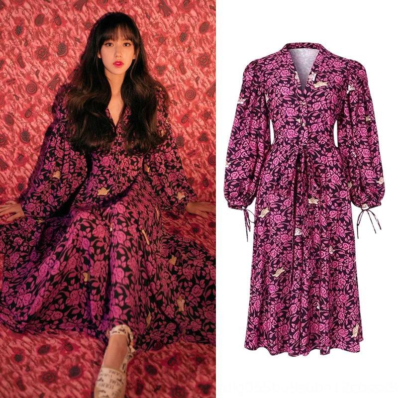 kxBJ6 çiçek mizaç Limei tarzı kraliyet tarzı v yaka Ishihara BEL zayıflama aynı fransız platycodon grandiflorum elbise elbise