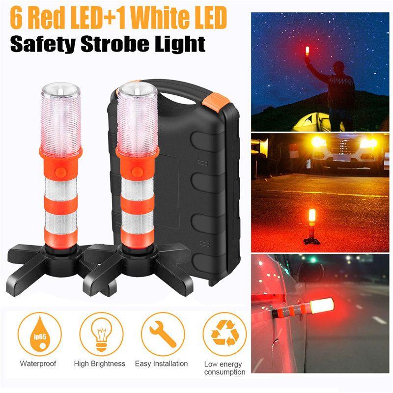 2PCS Car Road Security Flashing StrobeSignal Light Detachable Stand Beacon Vehicle Safety Strobe Light Warning Alert SOS Lamps