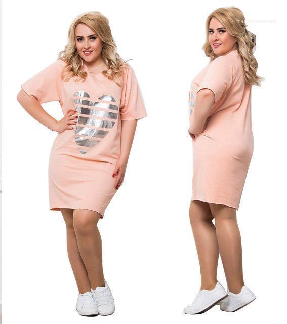 Sleeved Плюс размер платья 5XL 6XL платья женщин одежды Casual Сыпучие Summer Love тенниска платья Короткие