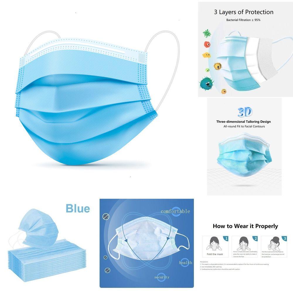50/100/150 / 200PCS multicolore monouso protettivo maschera a tre strati filtro meltblown panno adulto mascherina protettiva HVX7A KVQQD