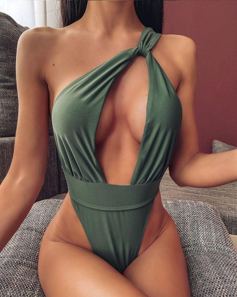 Miyouj um ombro Swimsuit profunda V Neck Swimwear oco Out Bikini sólidos Biquini Mulheres que banham terno de uma peça-ternos Monokini Y200824