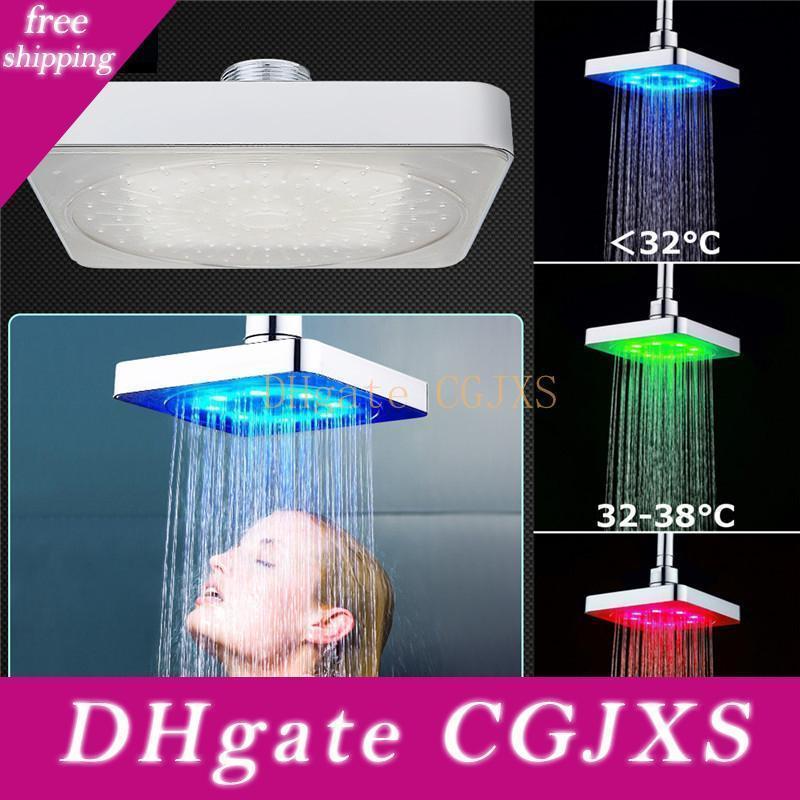 6 дюймов 3 цвета светодиодные температуры Изменение площади Ливень насадка для душа Spary свет вода Спринклер ванной НАСТЕННЫЙ