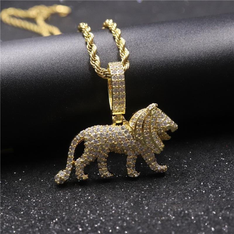 Новая мода Медь Лев животных ожерелье Кубический циркон Хип-хоп Ожерелье Длинные цепи для мужчин женщин ювелирные подарки