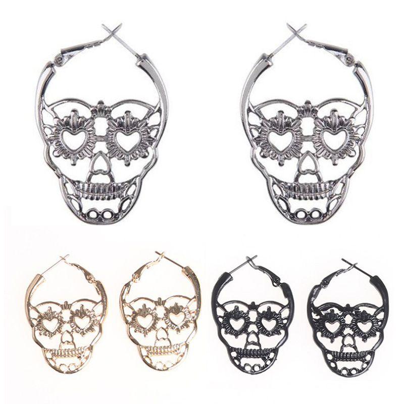 Vintage Gothic Skull Skeleton Earring Antique Silver Gold Skull Hoop Earring Halloween Jewelry for Women Girlls