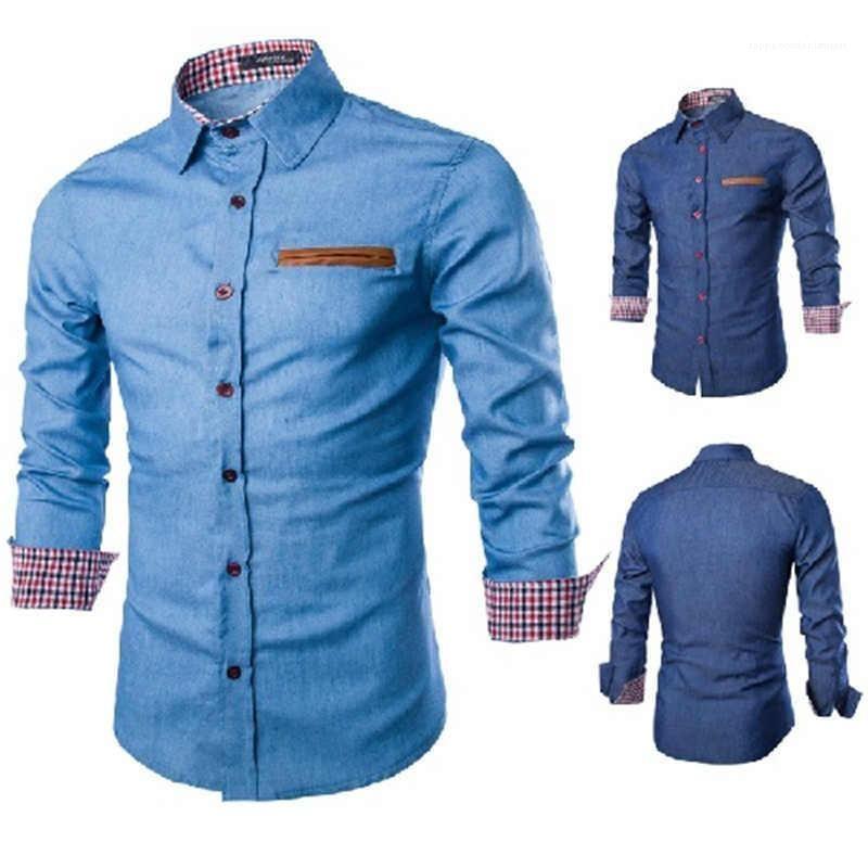 Long Sleeve Shirts Mens Casual Turn Down Collar Sólidos roupa colorida Mens Denim shirt dos homens Designer