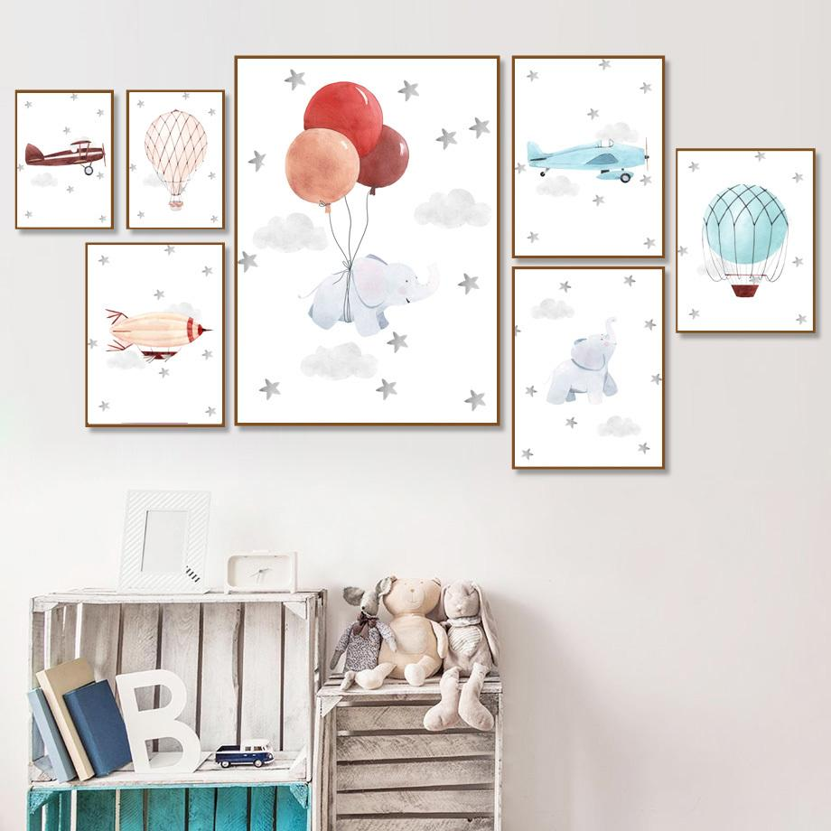Слон шар самолета Облако искусства стены холст картины скандинавские плакаты и печать Wall Pictures For Baby Boy Kids Room Decor