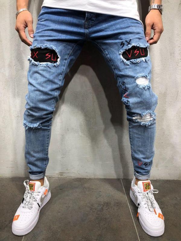 Nouvelle lettre Denim Homme Pantalons Broderie Skinny Ripped élégant Casual Slim Fit Crayon Jeans bas pantalon