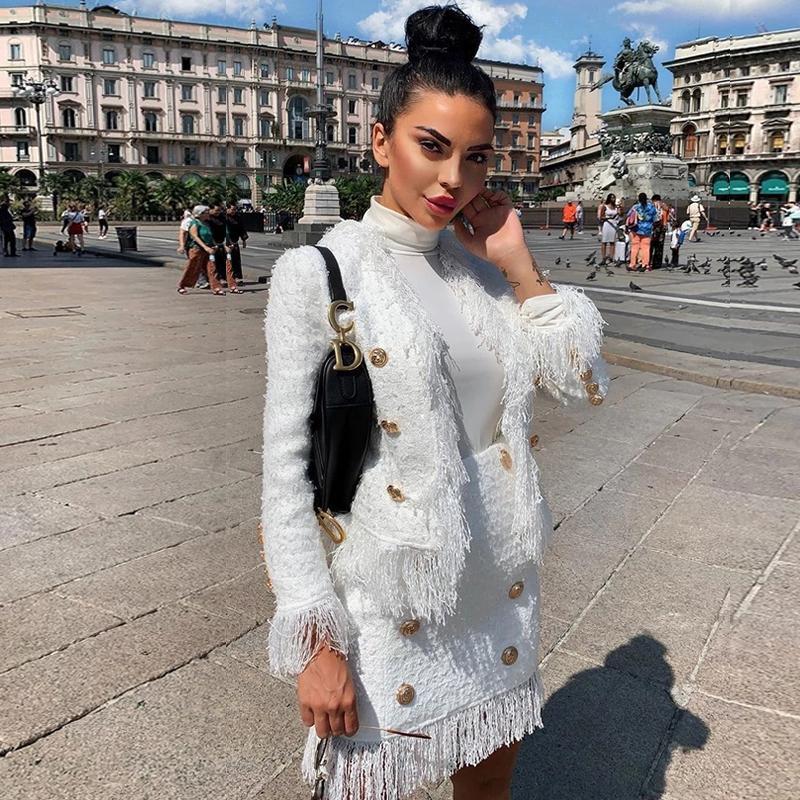 Pano franjadas borla manga comprida Escritório das senhoras das mulheres Casacos Branco Tweed Jacket ternos Mulheres New Outono Inverno de lã Brasão 2020 T200831