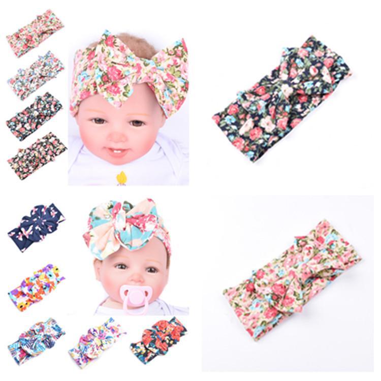 New Baby Bow Fasce Bohemian Hairbands stampa bambini Grande arco delle neonate elegante cerchio dei capelli 10 stile di favore di partito T2I51066