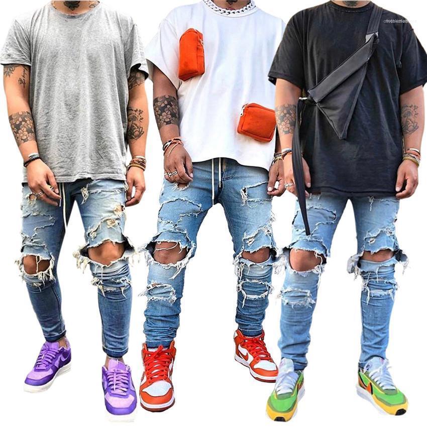Mens Skinny Jeans Buracos Magro Mens Calças Lápis Casual Plaid impressos mediana cintura jeans macho com Zipper Fly