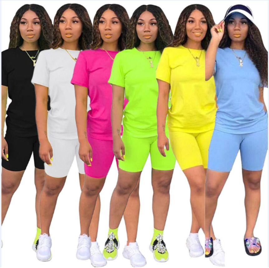 Женщины одежды Двухкусочного лето нарядов 2 шт набора Tracksuits сплошного цвета футболка шорт беговых Sweatsuit плюс размером одежду