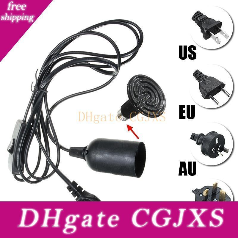 2m Kabel E27 Lampensockel Sockel-Licht-Halter für Reptil Keramische Infrarot-Heizstrahler-Birnen-Licht-Lampe US Eu Uk Au-Stecker