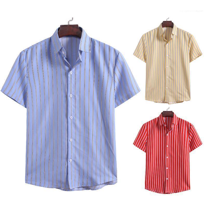 Mens rayé Casual Male Chemises Mode Hauts Designers Chemises à manches courtes cou Cardigan Lapel Hommes Chemises