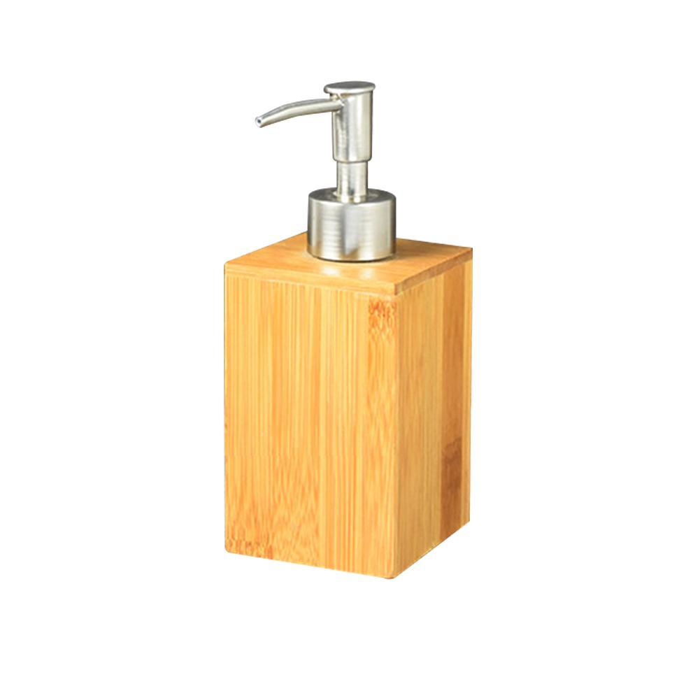 Distributeur de savon squeeze Presse Lotion durable Pratique Sanitizer Stockage en bambou