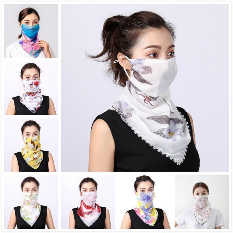 Women Scarf Bandanas Double Silk Chiffon Mask Outdoor Windproof Mask Handkerchief Half Face Dust veil Sunshade Masks 40 Styles