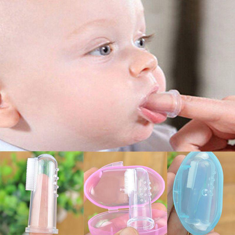 Bebé dedo dedo cepillo de dientes Dientes de dientes de silicona Cepillo de dientes + Caja Niños Dientes Claro Suave Infantil Cepillo de dientes Limpieza de goma