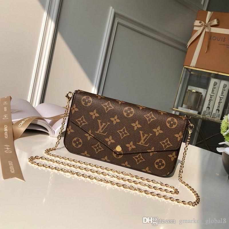 Hot Félicie POCHETTE M61276 Femmes Porte-monnaie flip Nimi Sac à bandoulière amovible de poche zippée Brown Sac à main