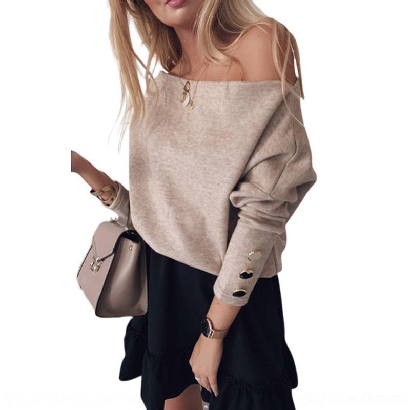 2019 Otoño / botón de la manera Top suéter de cuello botón de invierno nuevas mujeres de la manga larga sólido suéter de color nq33d camiseta de la tapa del hombro