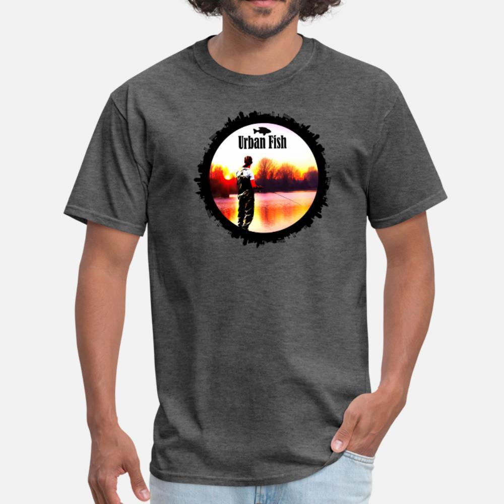 Kentsel Fisher Balıkçılık Kral Tasarım t shirt erkek baskılı% 100 pamuk boyut S-3XL homme Gevşek Mizah yaz Resimleri gömlek
