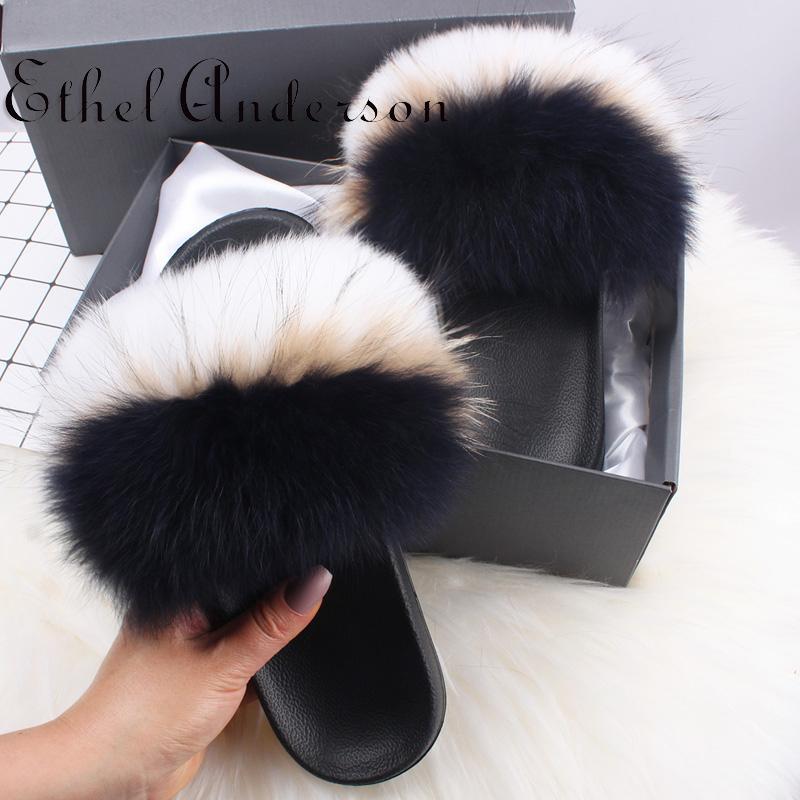 Mulheres Verão real Washer Urso Bont Slides Casual Moda de Nova Fox Furry Chinelos casa confortável flip-flops sandálias agradável Pluche senhoras