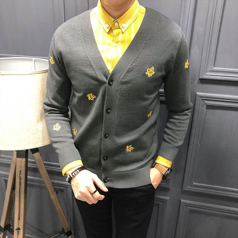Gzdeerax вышивка свитер Мужской Престижное Сплошной цвет кардигана Mens свитера Мода Slim Fit свитер Man Winter