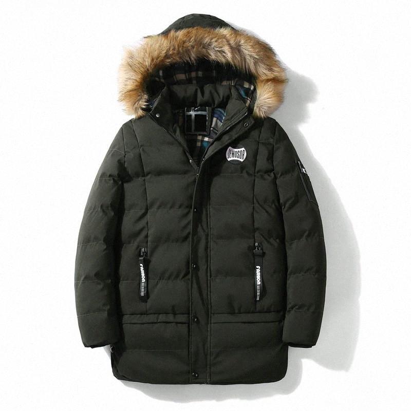 Brand New manteau d'hiver chaud hommes épais coupe-vent Parka Hommes capuche col de fourrure mi-longue Plus Size # 5Ylb vêtement parka
