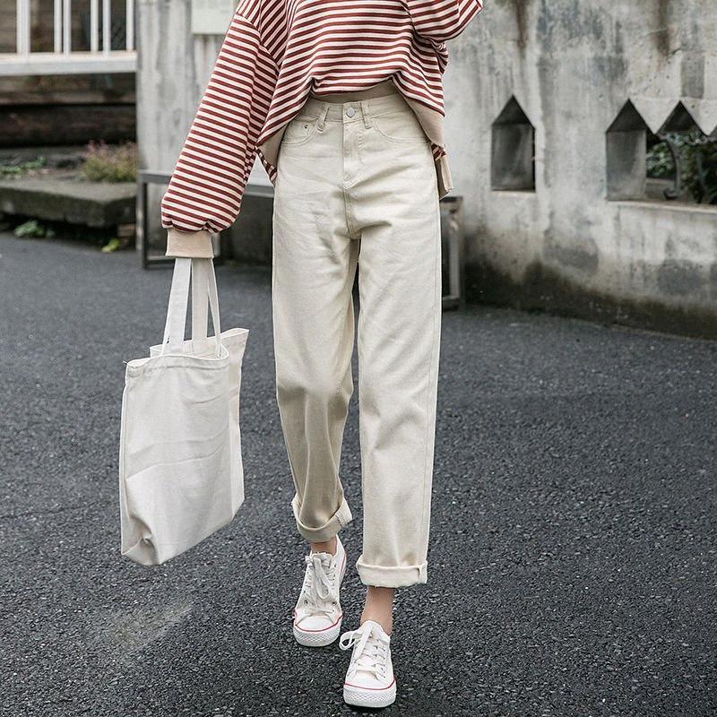 2020 2020 Frühling-neues Korea Art und Weise Frauen-Taillen-Schwarz Weit geschnittene Jeans Alles beiläufige Baumwolle Denim Haremshosen plus Größe S861 pl8e # Matched