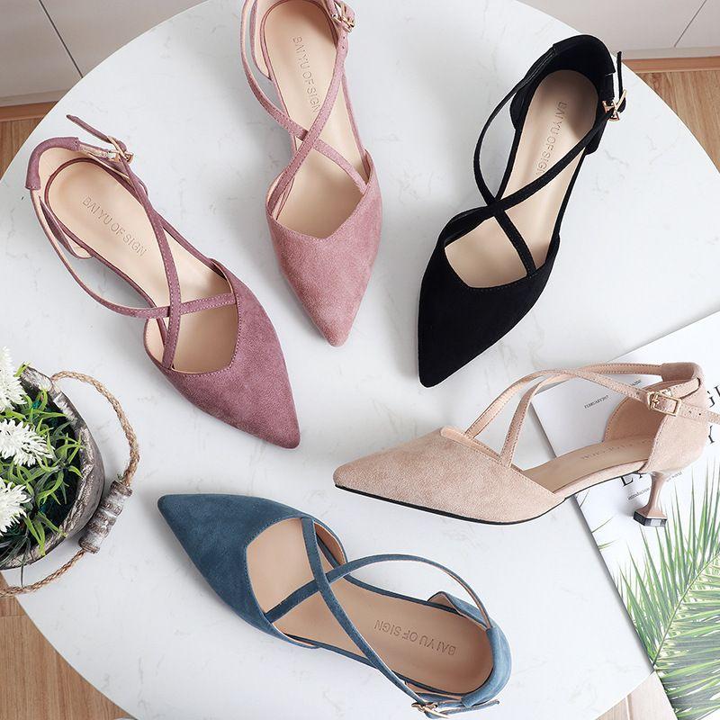 5 centimetri scarpe dei tacchi alti Donna Cross-Legato Flock punta aguzza Thin Heels pompa i pattini Nudo Femminile elegante sandali del partito scarpe da sposa T200827