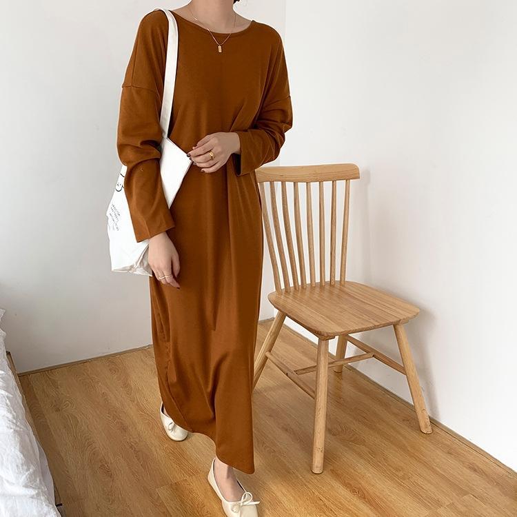Corea del elegante diseño de la falda partida del botón de retroceso de un solo pecho cómodo del todo-fósforo de Corea del suéter suéter largo elegante camisa larga OtuVa