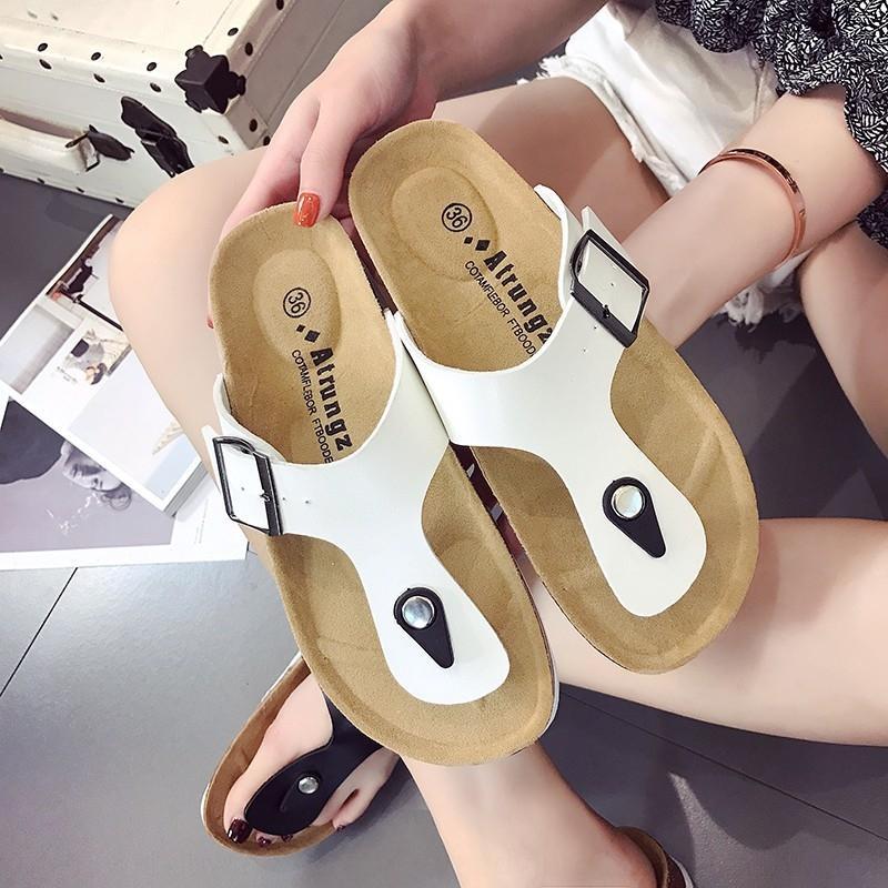 90AOQ 2019 style coréen mode sandales décontractée été de grande taille antidérapante confortable fond plat 41-44 quelques sandales et pantoufles chaussons