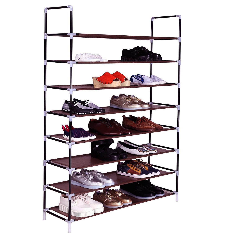 Держатели для обуви Waco 8 уровня для обуви, ультра большая нетканая ткань Организатор ткани, 32 пары обувь башня шкаф Шилфор для дома, темно-коричневый