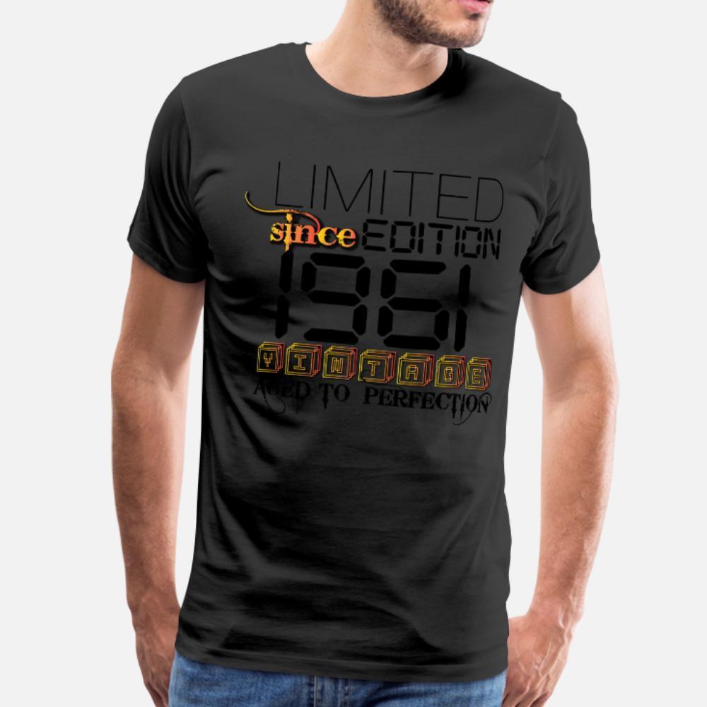 Limited Edition 1961 T-Shirt Männer bedruckter Baumwolle runde Kragen-Familien-Geschenk Comical Frühlings-Herbst-Freizeit-Hemd
