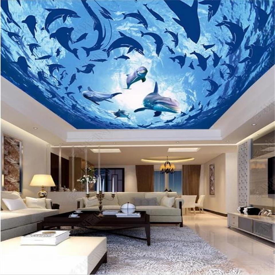 пользовательские 3d фото обои потолка гостиной спальня фреска океана мир дельфина потолок картина 3d стены стикер комнаты Фреска обои стены