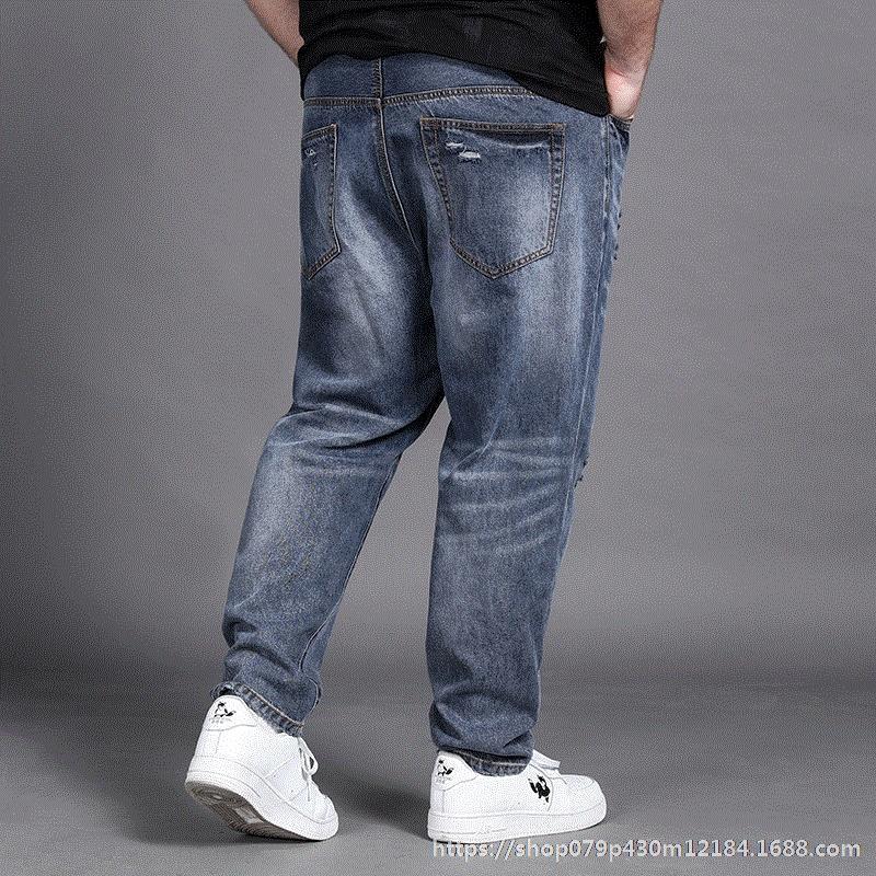 fJiA2 iDHzN и большого размера микро-коническая брюки четыре ноги ватные модные джинсы рваные джинсы мужские синий небольшие сезоны плюс толстые штаны