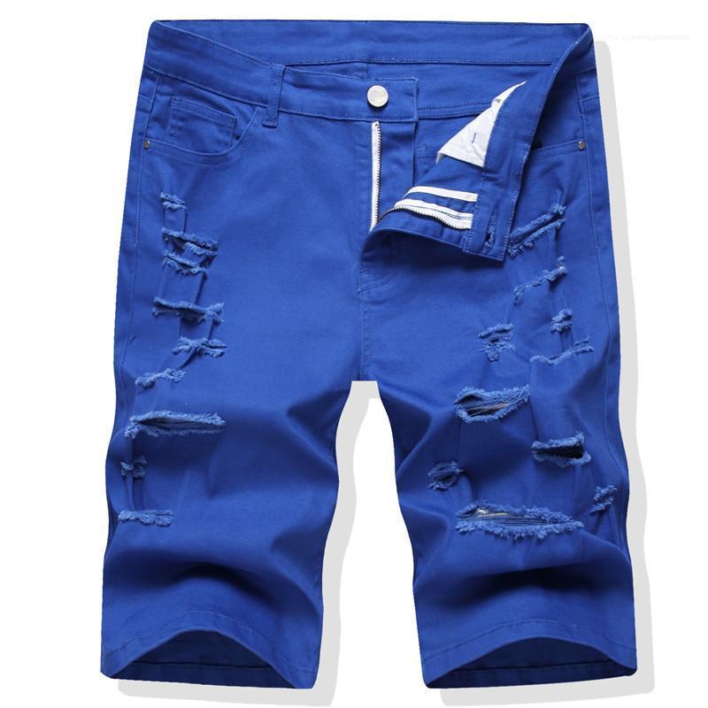 Été Longueur du genou droit régulier Shorts Hommes Mode Homme Vêtements Holes Solid Color Mens Designer Jean