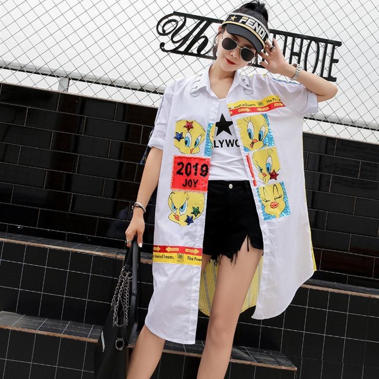 JSJnq été chemise cardigan femmes mi-longueur de mode de bande dessinée Brand femmes col stand chemise imprimée coutures tous les match