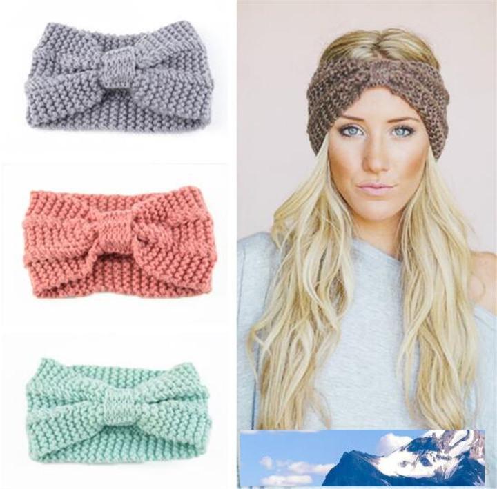 Winter Warmer Ear lavorato a maglia fascia Turbante Per signora Women Crochet Bow ampio tratto Solid Hairband di Headwrap Accessori per capelli T511