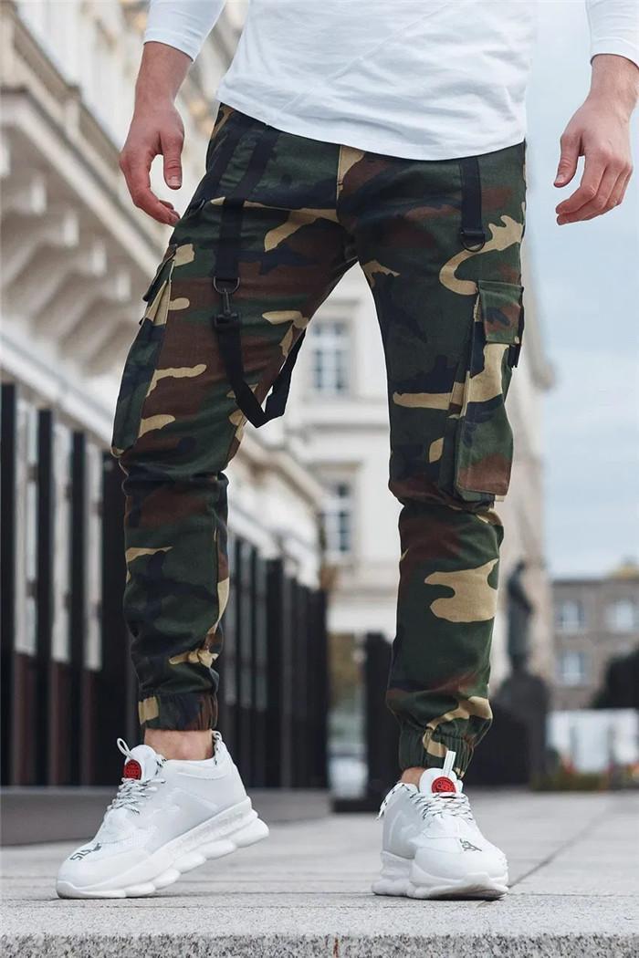 Pantalon Hommes camouflage Poche cargo Automne Hiver taille haute Sport Jogger Pantalon Homme High Street Sweatpants