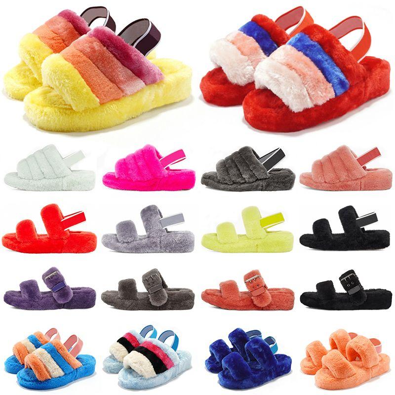 Acquista nuove pantofole pelose di design moda donna ragazze signore pellicce diapositive comodi sandali caldi casa invernale 36-44