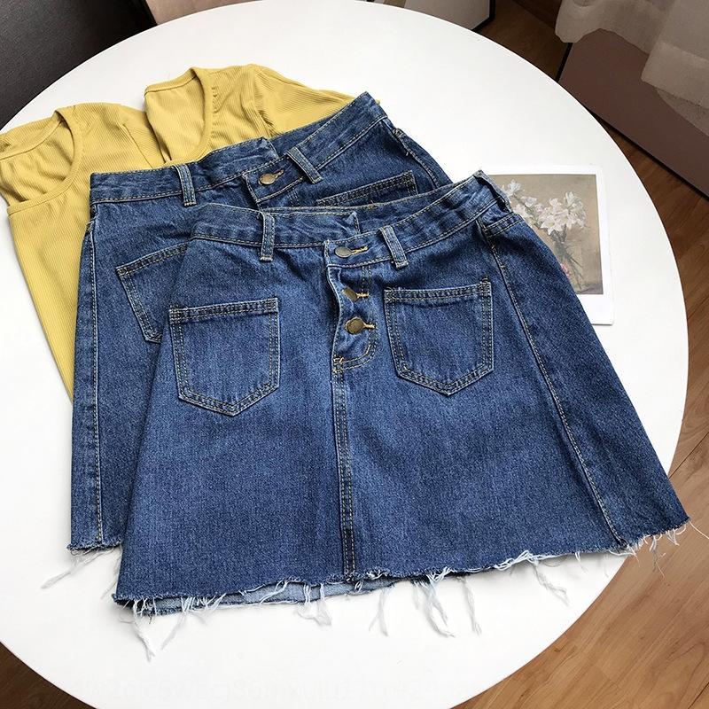 3pJGu sDAOo Vestido linha sólida saia cor saia jeans denim estilo verão das mulheres coreano versátil vestido A- Single-breasted ins moda novos cas