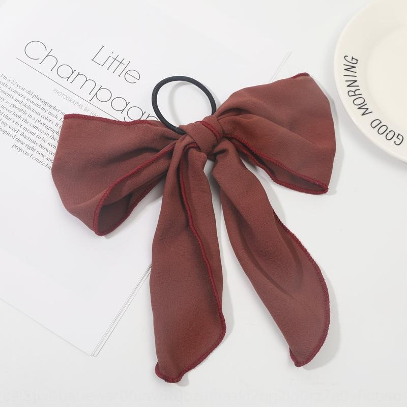 Creative Korean super large bow tied ponytail black ribbon rubber Super fairy solid color Net red head Rubber Hair band hair band rope ins g