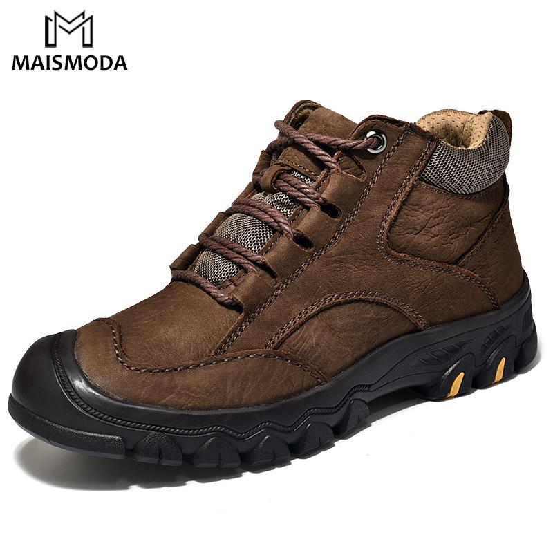 MAISMODA stivali caldi per gli uomini Genuine Leather Pelliccia Confortevole escursionismo lavoro neve Stivaletti High Top Plus Size YL654