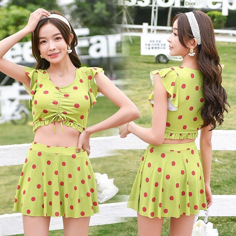 lsyLt neue Frauen der einfache Badeanzug dot Badeanzug Mädchenrock Kurzhülse Freizeit Stil koreanische Boxer'Urlaub Polka 056189