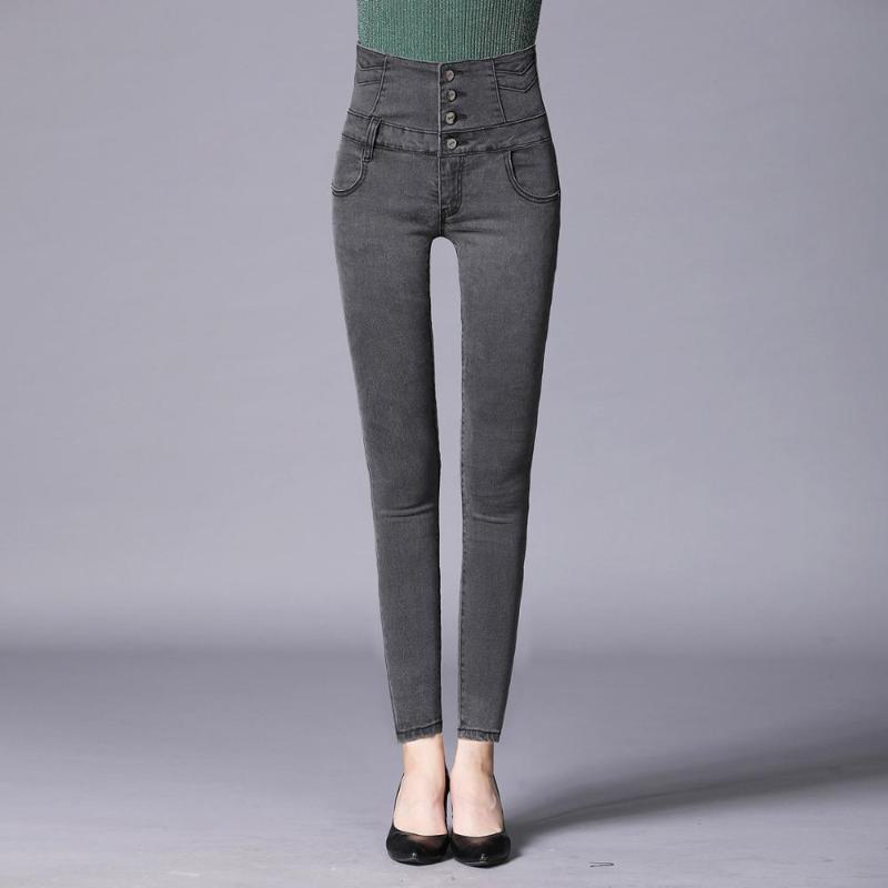 tissu denim stretch grand jeans femmes mode personnalité pantalon crayon haute pieds de taille denim pantalons pour femmes