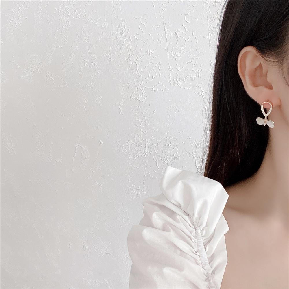 Lightopal borboleta e s925 estilo agulha de prata coreano genuína ouro incrustado genuína brincos borboleta de ouro brincos para as mulheres