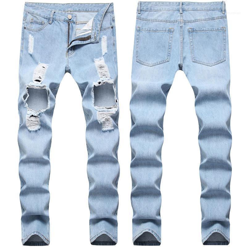 Casual mittlere Taille Light Blue Male Lange Jeans Holes Designer Herren Jeans gerade dünner Denim Herren Hosen